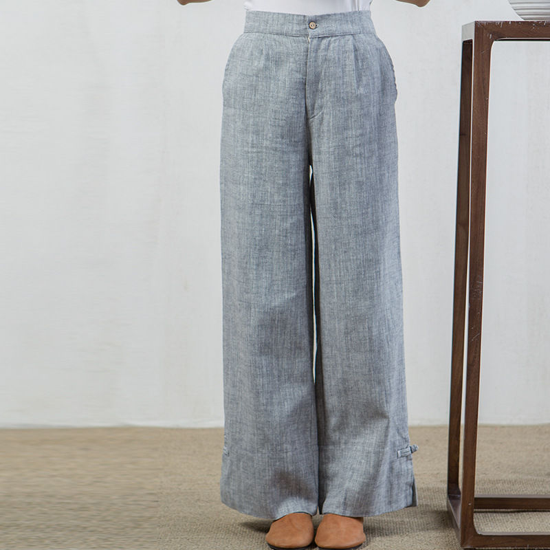 Tea Clothes Cotton Linen Casual Pants Was Thin Wide Leg Pants Thick Loose Pants Light Straight