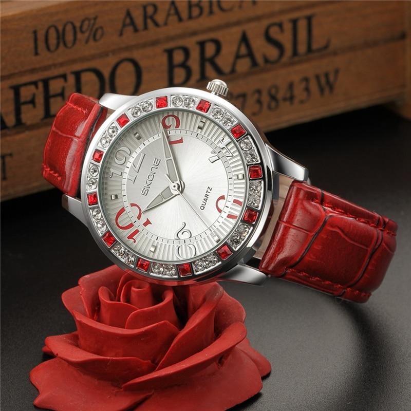 SKONE Luxury Clock Woman Fashion Designer Leather Quartz-watch Ladies Dress Watch Brand Women Watches for Girl relogio feminino