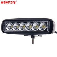 6 Inch 18W LED Work Light Lamp For Motorcycle Tractor Boat Off Road 4WD 4x4 Truck