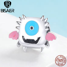 BISAER Real 925 Sterling Silver Monster Dumb Dumber Charms Beads fit Children Girls Bracelets Necklaces DIY Jewelry Gift ECC1089(China)