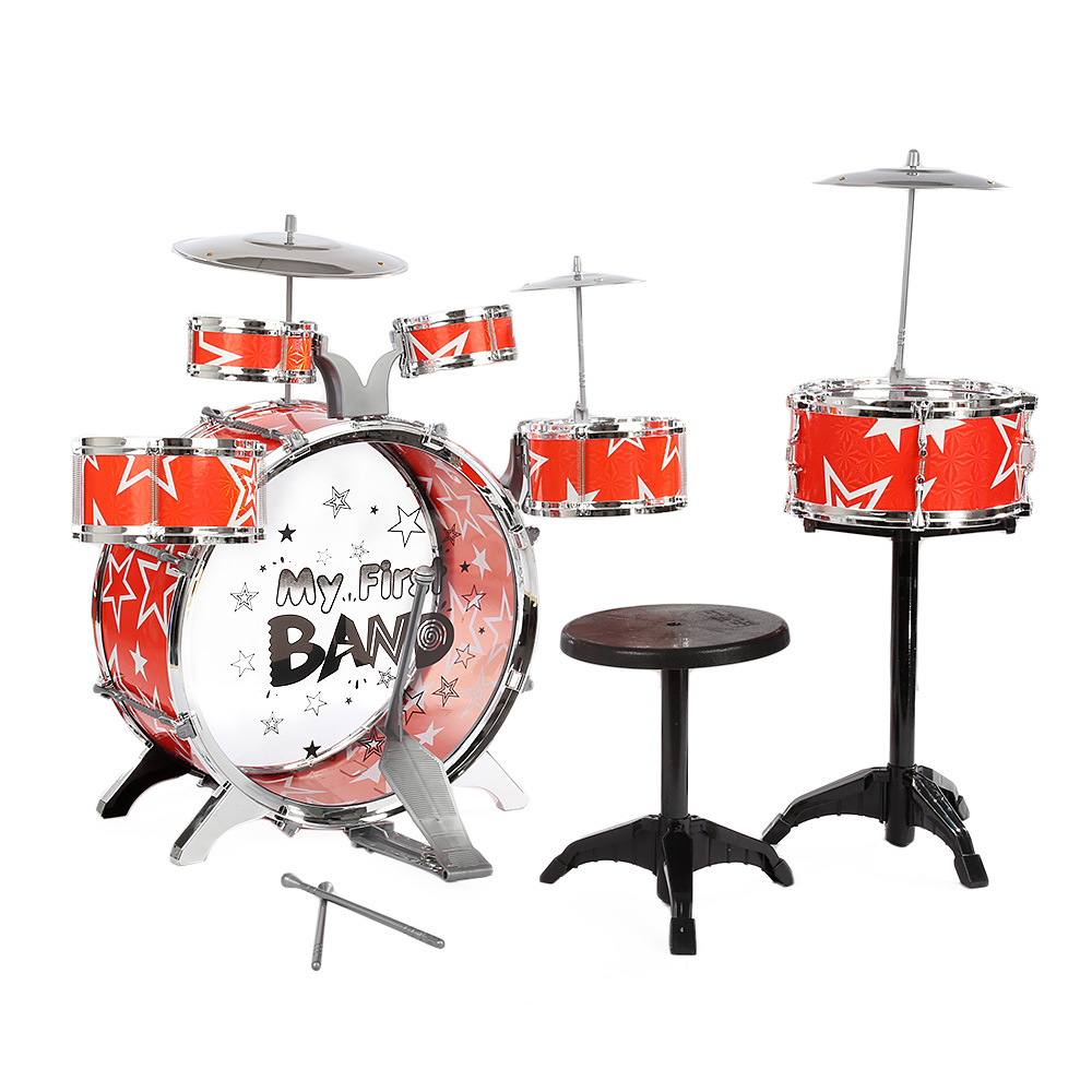 Children Drums Kit Musical Instrument Toy With Cymbals Stool Christmas Birthday Gift Help To Improve Kid'S Coordination Skills