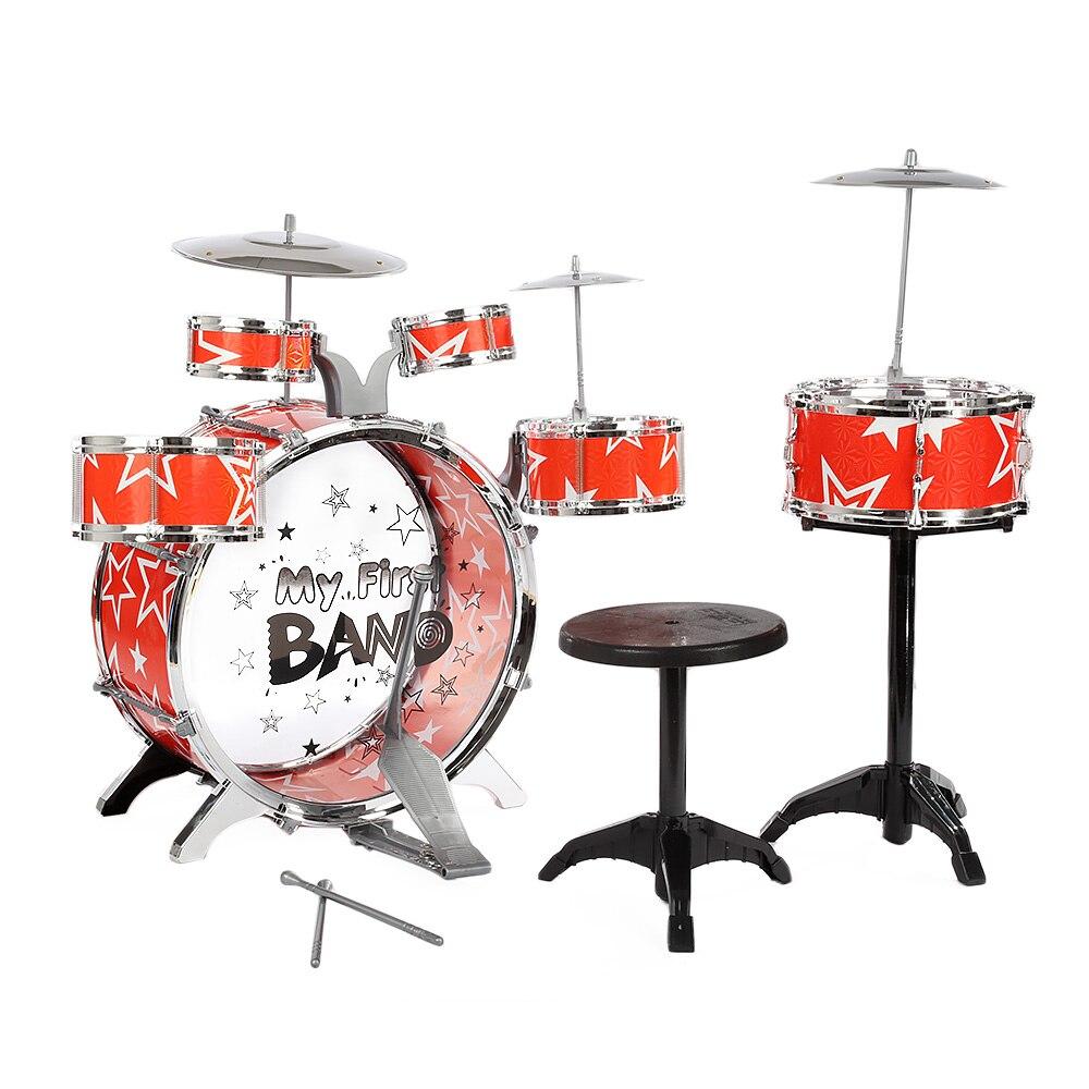 Kit de batterie pour enfants Instrument de musique jouet avec cymbales tabouret cadeau d'anniversaire de noël aide à améliorer les compétences de Coordination du Kid'S