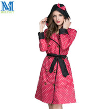 Fashion Lady Trench Coat Style Raincoat With Belt and Cap Pongee Women Outdoor Rain Coat