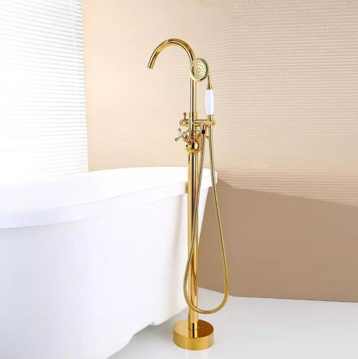 Современные свободностоящая Ванна кран ванна Наполнитель модные золотые латунь пол гору с ручным душем ванна смесители