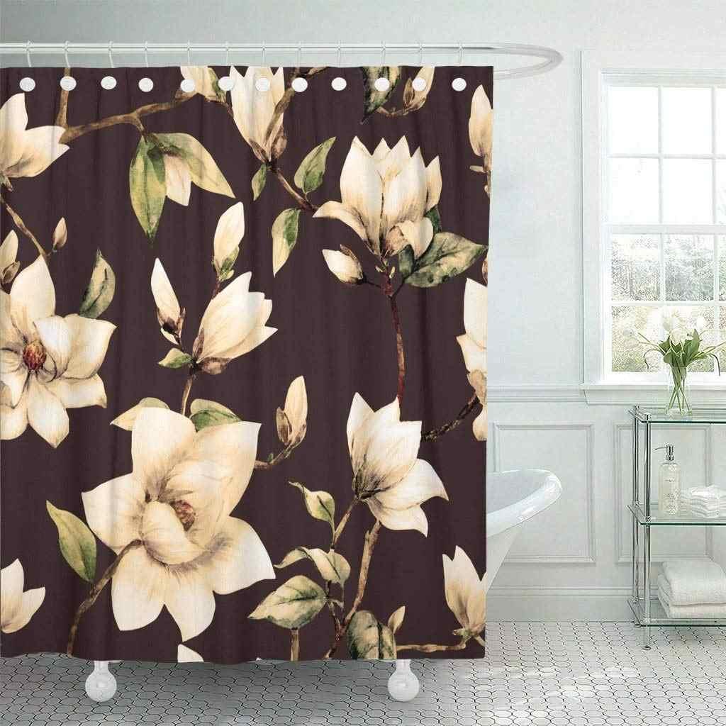 Rideau de douche avec crochets motif aquarelle Floral rouge fleurs Magnolia  blanc rose foncé luxe peinture Vintage salle de bain
