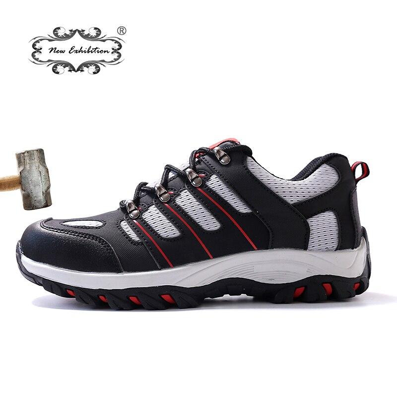 Nouvelle exposition chaussures de sécurité pour hommes en acier respirant embout Anti-fracassant résistant aux coups de couteau hommes mode Sneaker travail chaussure de protection