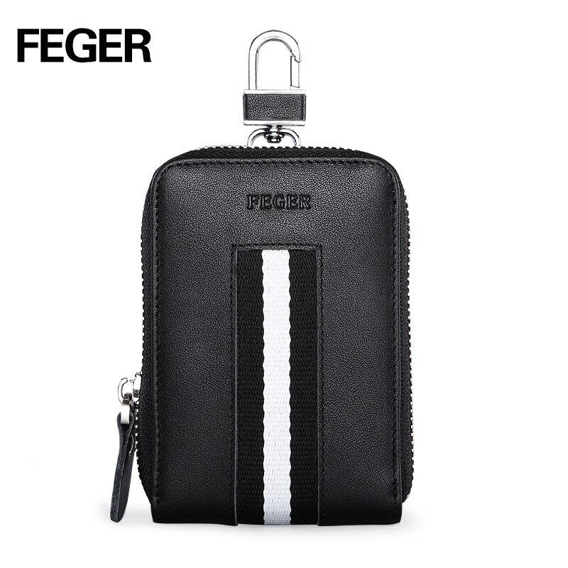 Véritable cuir hommes porte-clés femmes porte-carte multifonction portefeuille voiture clé sac femme de ménage 6 porte-clés vache mode 2019 FEGER