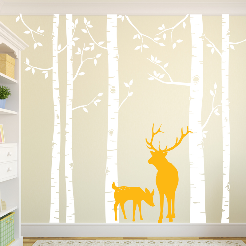 Bouleau arbre sticker mural avec cerf amovible énorme arbre blanc Stickers muraux pour bébé pépinière chambre arbre mur décor salon ZA318