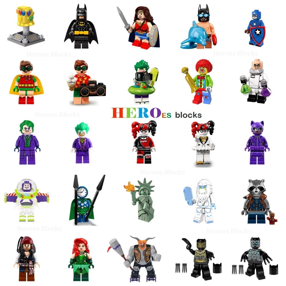 super heroes building blocks joker batman wonder robin. Black Bedroom Furniture Sets. Home Design Ideas