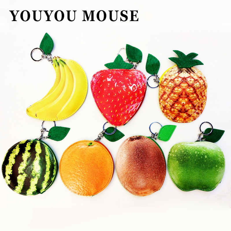 YOUYOU MOUSE Lovely Fresh Style Coin Bag Cute Student Purse PU Leather Material Zipper Fruit Patterns Creative Wallet Key Cases