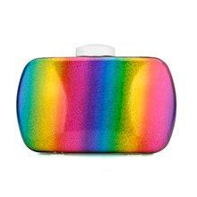 Elegant Bag Purse Rainbow-Box Shoulder-Bags Jelly-Chain Female Handbag Evening-Bag Wedding-Clutch