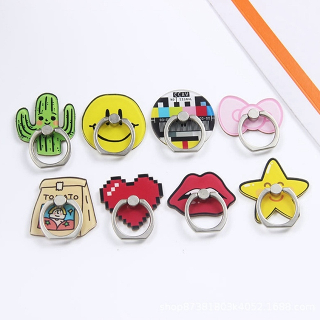 ABS Finger Ring cute mobile phone holder Stand rings Cute Cactus Stars Lips Pattern Cartoon Smartphone Rings Support