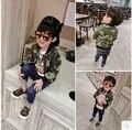 2016 nueva primavera Coreano guapo muchachos de la capa niños niños chaqueta de camuflaje Bebé Suéter cremallera marea