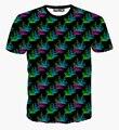 3D espectáculo hombres mujeres nuevo llegado Casual Color negro 3D T Shirt Colorful corona diseño de la camiseta chico chica manga corta Tops talla M-XXL