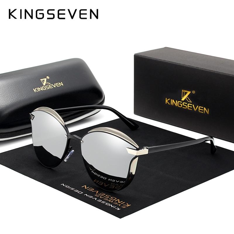 KINGSEVEN Design Da Marca Gato Olho Óculos De Sol Mulheres polarizada Frame Da Liga + TR90 Luxo Moda Óculos de Sol Retro Oculos de sol gafas