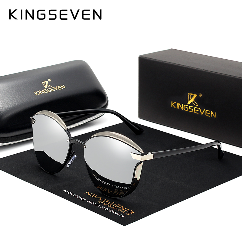 Kingseven marca de design olho gato óculos de sol polarizados feminino liga luxo quadro + tr90 óculos moda retro oculos sol gafas