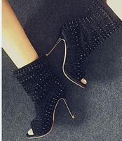 2017 Spring Autumn boots women newest boots peep toe super high thin heels mid calf rivet decoration studded boots black