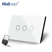 3 Gang Dimmer Remote Switch Luxury Crystal Glass Switch Wallpad US/AU Standard 3 Gangs Wall Power Switch With Remote Controller