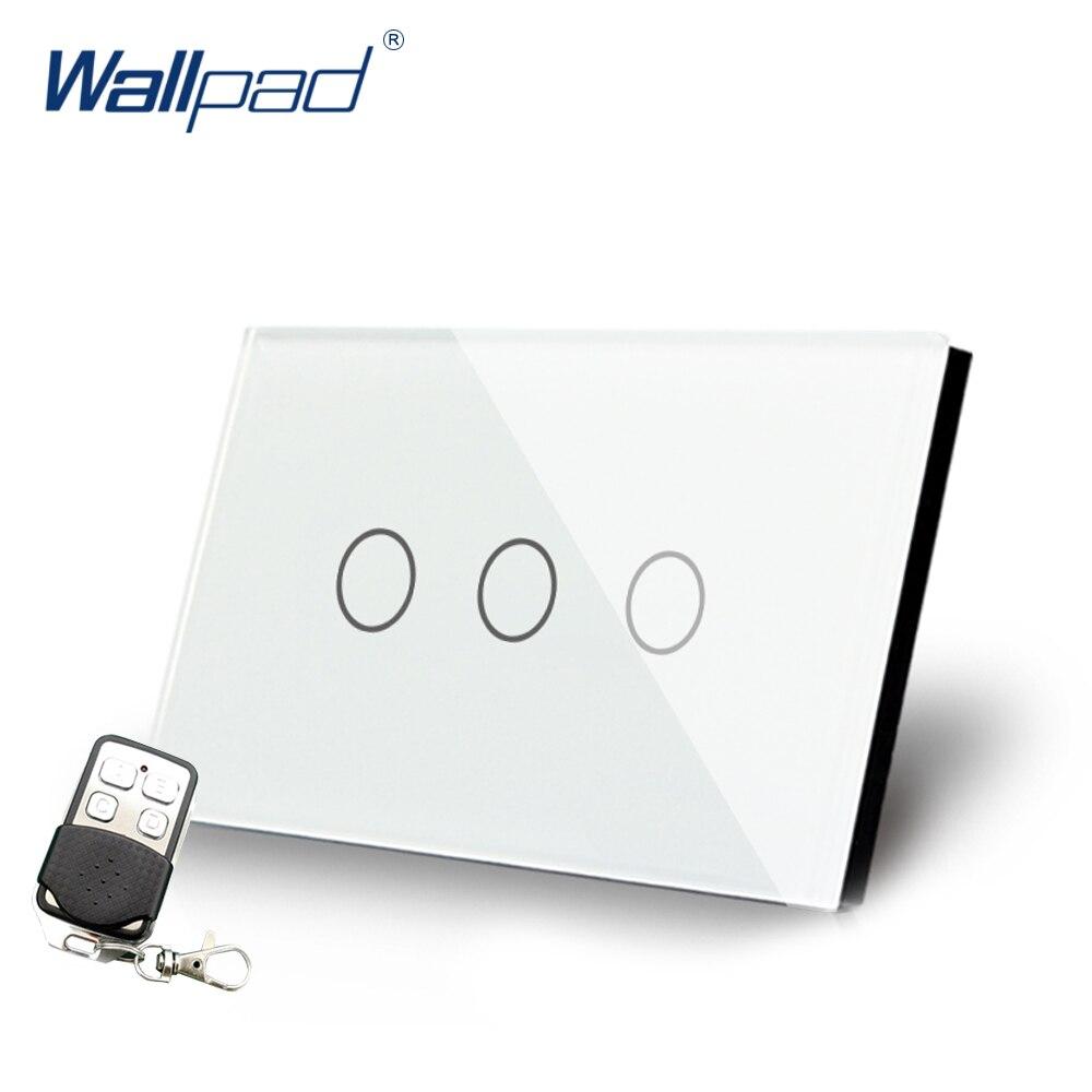 Interrupteur à distance 3 bandes gradateur interrupteur de luxe en verre cristal Wallpad US/AU Standard 3 Gangs interrupteur d'alimentation mural avec télécommande