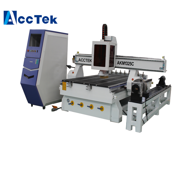 1300*2500mm Atc Cnc Router Machinery With Rotary Axis/ Router Cnc Atc 1325 With Syntec Controller Jinan AccTek