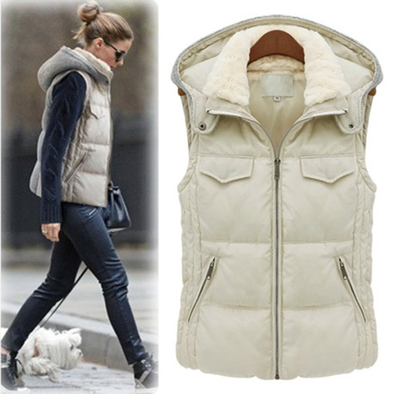 Winter 2013 hot Euro fashion hooded warm sleeveless jacket women ...