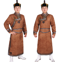 Male robed mongolia clothes male costume imitation deerskin velvet Mongolia clothes mongolian robed Outfit