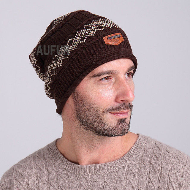 2017 Winter Beanie with Faux Fur Lining Warm Unisex Hat with Curling Fashion Knitted Cap Flexible Warp Knitting Outdoor AU00727