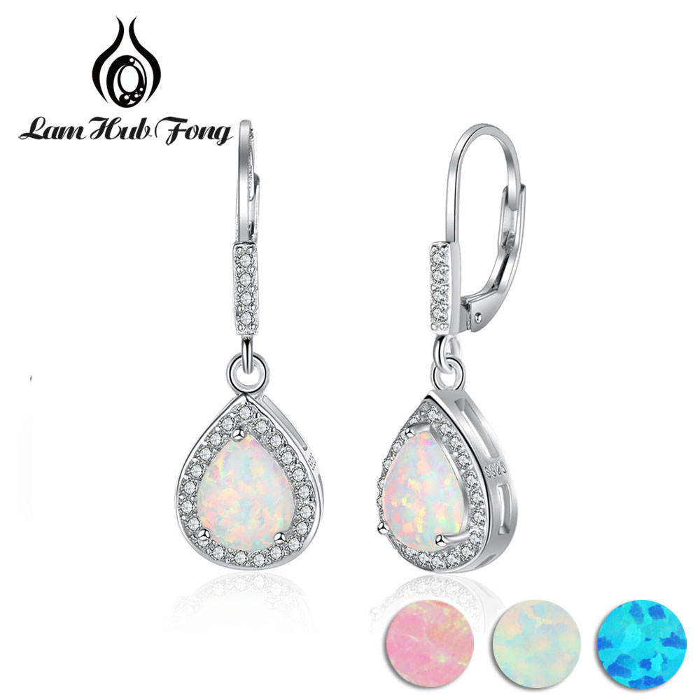 925 Sterling Silver Water Drop Shape Earrings White Opal & Cubic Zirconia Women Dangle Earrings Romantic Gift For Wife 1 pair water drop shape opal crystal earrings dangle earrings gem stone jewelry druzy er307