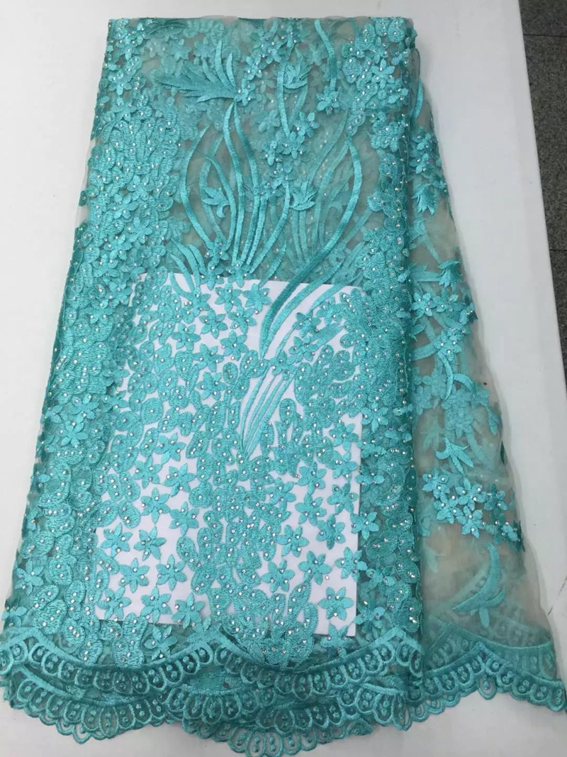 Luxury rhinestones turquoise african lace fabric beaded french mesh ...