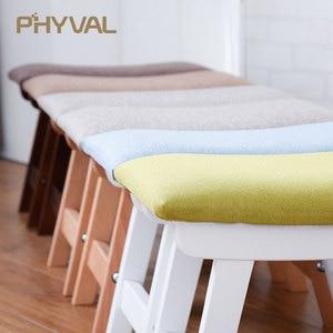 Image 2 - Drewno pufa Nordic stołek prosty otomana do salonu mebelki dziecięce podnóżek z tkaniny