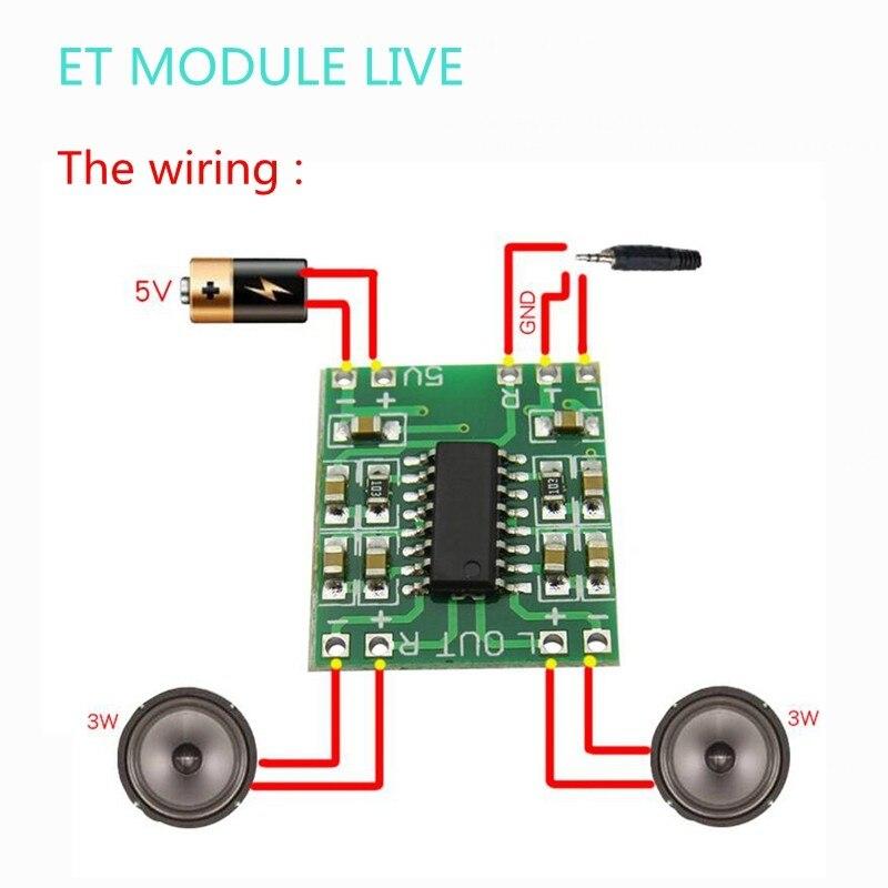 MH-ET в прямом эфире 5 шт. PAM8403 модуль супер цифровой усилитель доска 2*3 Вт Цифровой усилитель класса D доска эффективной 5В USB Питание