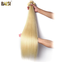 BAISI Brazilian Virgin Hair Straight 613# Blonde Color Hair Weave 1 PCS Long Length in 28 30 32 34inches Free Shipping