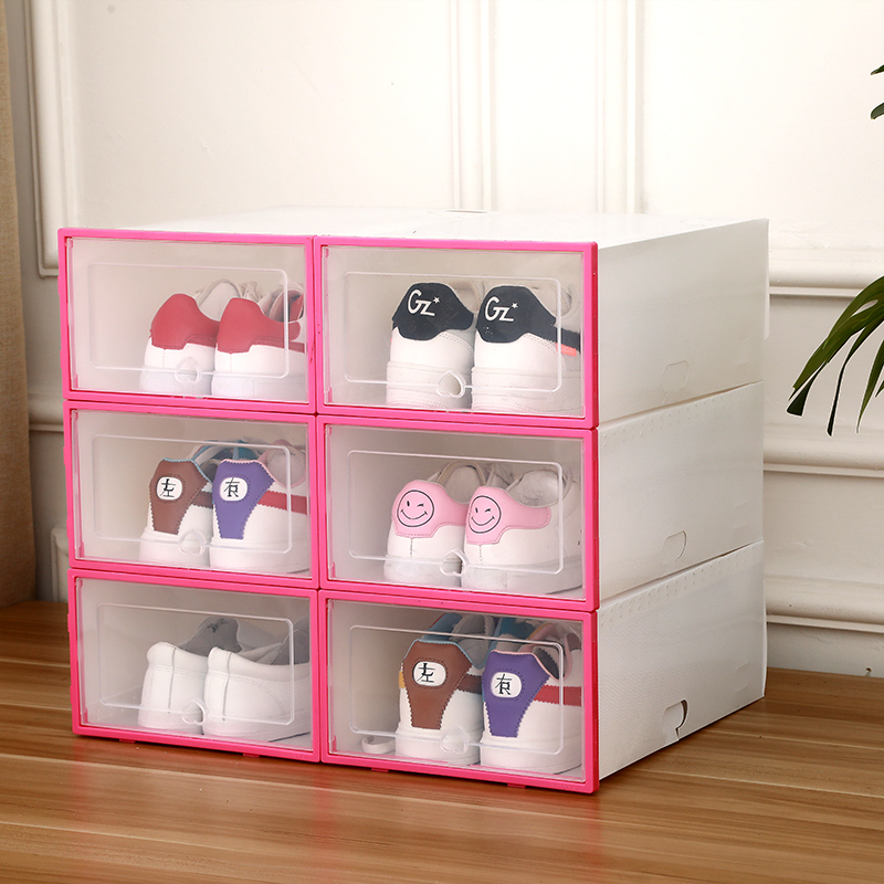 6pc Stackable Simple Style Clear Plastic Shoe Box Home Storage Boxes Office Organiser Drawer-in Storage Boxes & Bins from Home & Garden