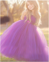 Cute Girls Purple Long Tutus Dress Kids Handmade Fluffy Tulle Princess Dress With Flower Satin Bow
