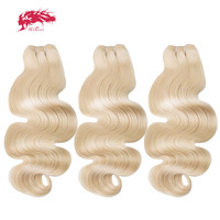 Ali Queen 3 PCS A Lot 613 Blonde Bundle Virgin Body Wave Brazilian One Donor Human Young Girl Hair Weave Extension For Salon