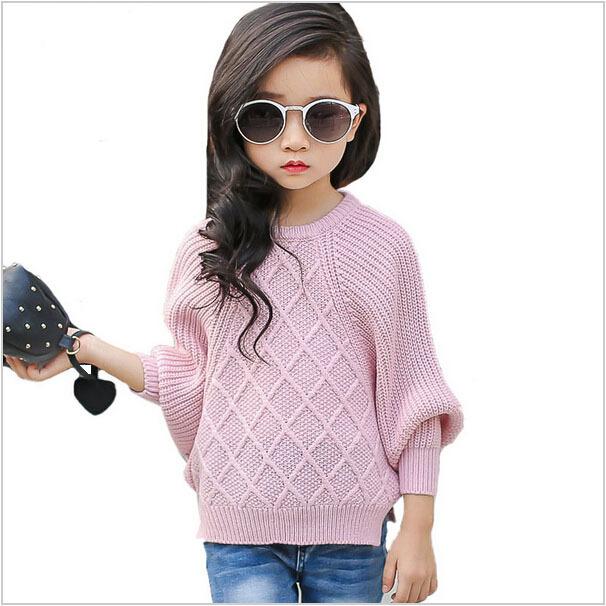 Suéteres de los niños Niñas Otoño 2016 Nuevas Tendencias de La Moda de Color Sólido Ocasional Cómodo Mantener Caliente Suéter de Los Cabritos