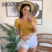 Women Sexy Square Neck Lantern Sleeve Smocked Top Femme Yellow Slim Crop Tops Summer 2019 Fashion Korean Clothes Style smocked neck fit
