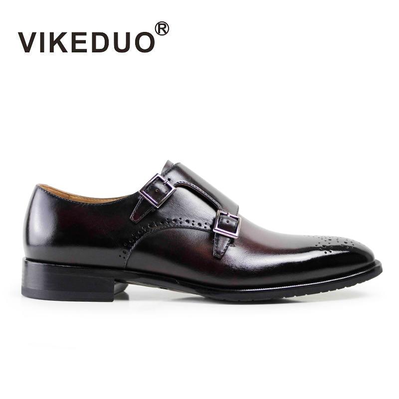 النجم Vikeduo اليدوية أحذية رجالية مونك والاحذية 100 ٪ جلد طبيعي أزياء الرجال شقة حفل زفاف مكتب التصميم الأصلي