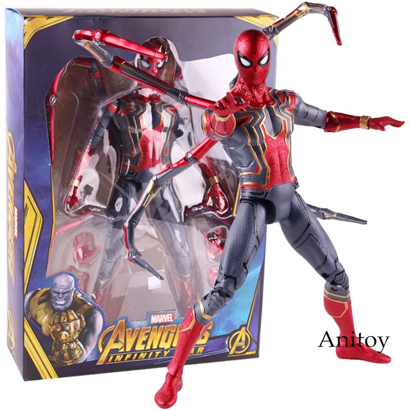 Marvel Avengers Infinity War Spiderman Iron Spider Figure Action PVC Collectible Model Toy Big Size with LED Light