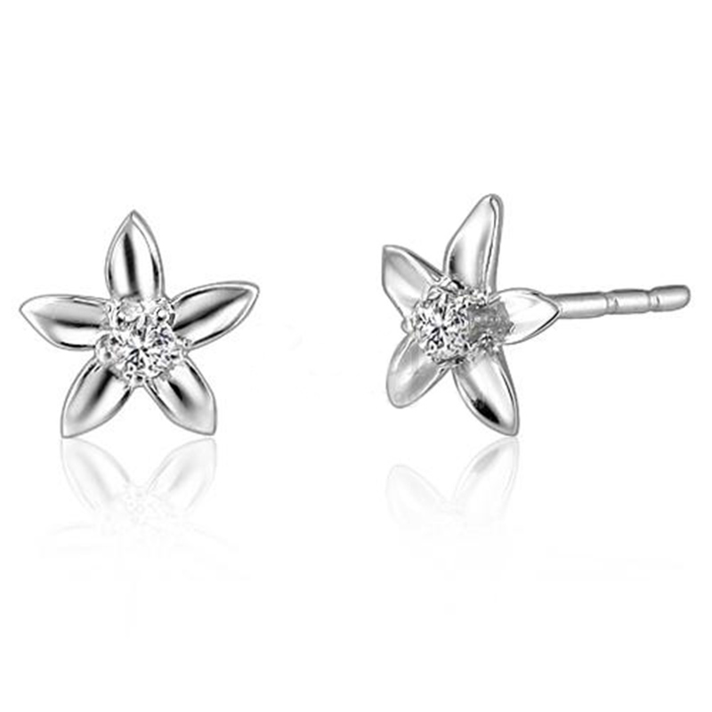 XXXNatural Diamond Jewelry Stud Earrings for Women White 18K Gold Earring Flower Shape Earings Female brincos boucle d'oreille