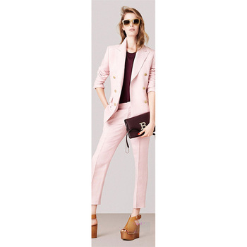 Jacket+Pants Pink Womens Business Suits Female Office Uniform 2 Piece Ladies Winter Formal Trouser Suits Double Breasted Cusotm