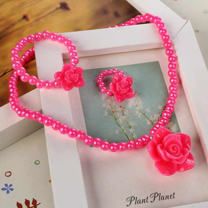 ZOSHI Kids Baby Girl's Imitation Pearls Beaded Sun Flower Necklace Bracelet Ring Jewelry Set Children Party Gift Wholesale Price