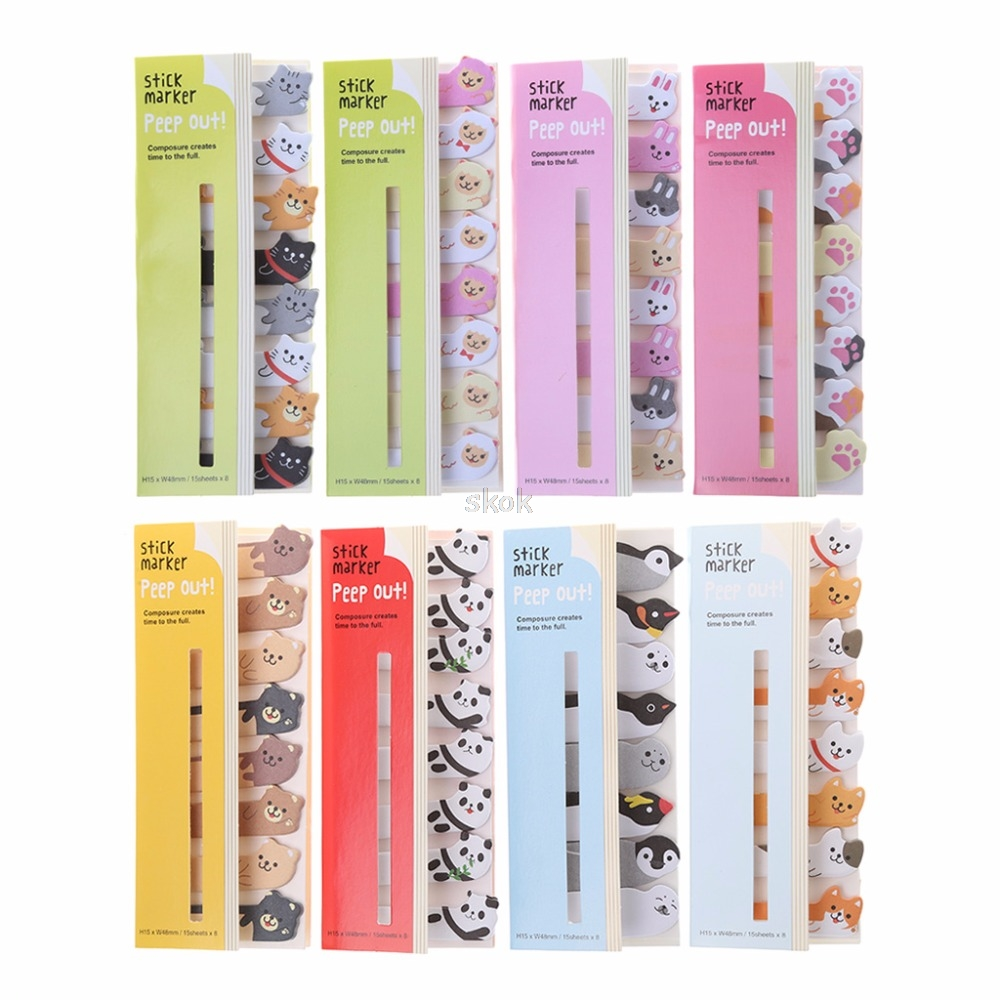 Cartoon Animal Sticky Note Post It Sticker Memo Pads Bookmark Message Stationery Memo Pads MAY23 dropship