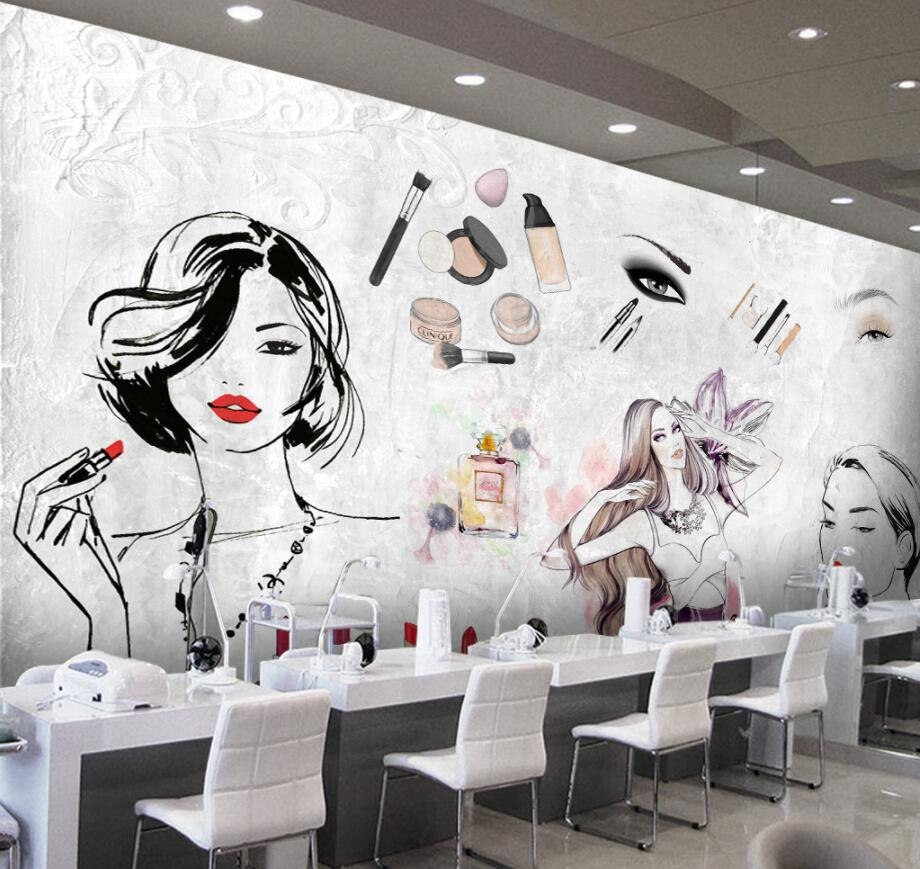 US $8 85 OFF Beibehang Custom 3d Wallpaper European And American Fashion Watercolor Beauty Beauty Cosmetic Tooling Wallpaper Wall
