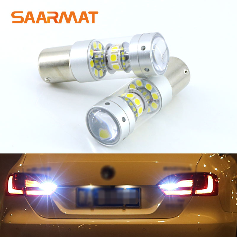 2x Error Free Super Bright 6000K White <font><b>LED</b></font> <font><b>Bulbs</b></font> For Backup Reverse Light 1156 <font><b>P21W</b></font> For VW touran polo jetta mk6 mk7 LAVIDA image