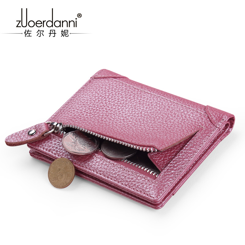 new leather mini wallet female leather short compact mini multi functional leather wallet