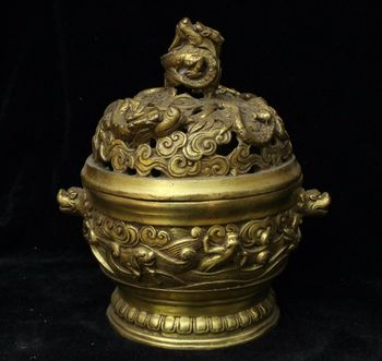 Chinese Ancient Bronze Fengshui Dragon Head Animal Incense Burner Censer Statue