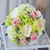 Handmade artificial flower wedding flower bride holding flowers rose pink is green guelder
