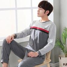 d3ee2fe48f06 2018 Simple Pyjamas Men Cotton Autumn Spring Pajama Set Men Top+trousers  Pijamas Long-sleeve Sexy Korean Sleepwear Night Suit