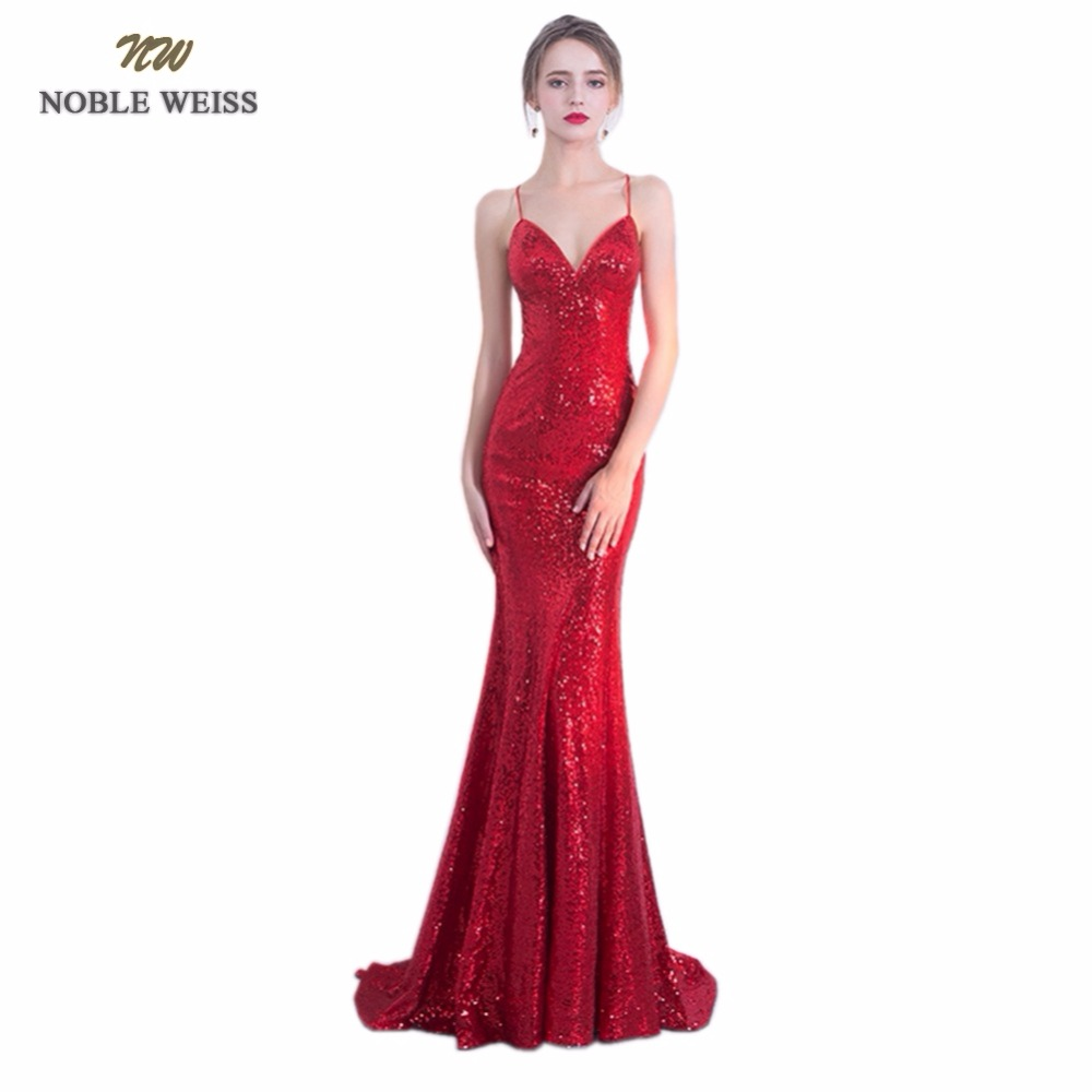 NOBLE WEISS Sexy   Prom     Dresses   2019 Sequin Custom Made Sweetheart Mermaid Bare Back Dark Red   Prom   Party   Dress   With Sweep Train